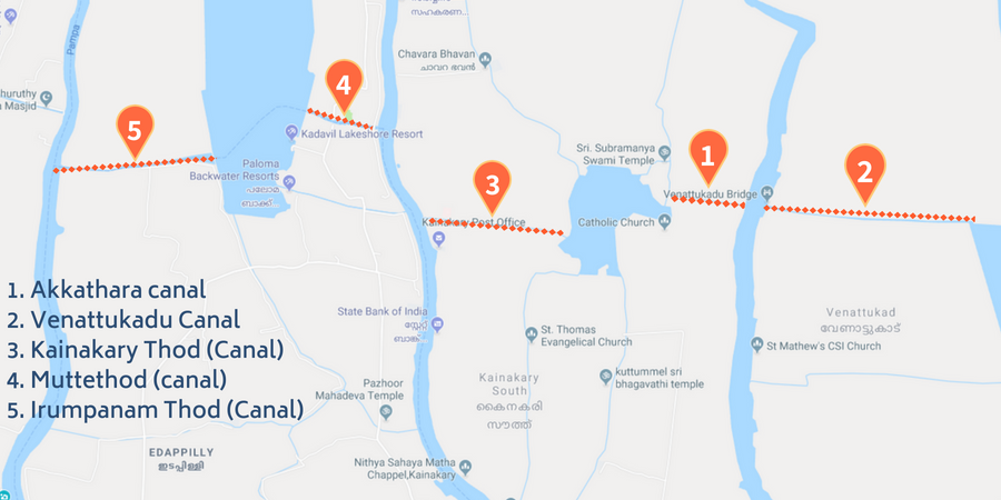 Alleppey Canals Map